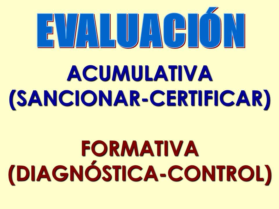 ACUMULATIVA(SANCIONAR-CERTIFICAR)FORMATIVA(DIAGNÓSTICA-CONTROL)