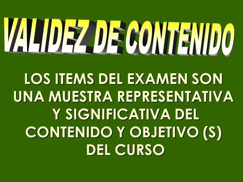 LOS ITEMS DEL EXAMEN SON UNA MUESTRA REPRESENTATIVA Y SIGNIFICATIVA DEL CONTENIDO Y OBJETIVO (S) Y SIGNIFICATIVA DEL CONTENIDO Y OBJETIVO (S) DEL CURS
