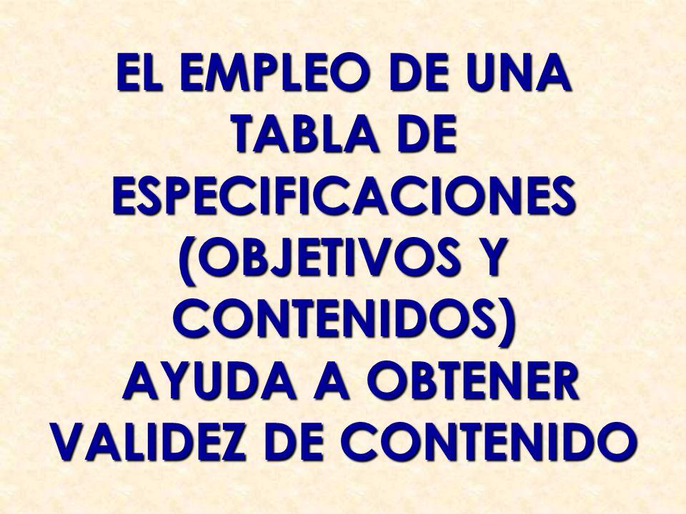 EL EMPLEO DE UNA TABLA DE ESPECIFICACIONES (OBJETIVOS Y CONTENIDOS) AYUDA A OBTENER AYUDA A OBTENER VALIDEZ DE CONTENIDO