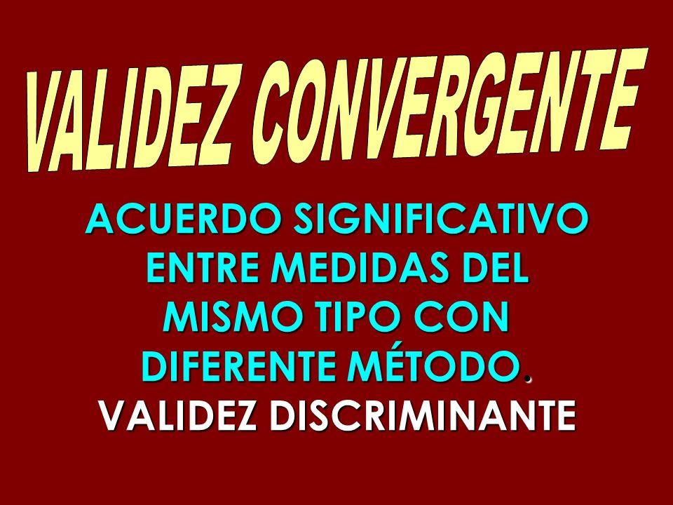 ACUERDO SIGNIFICATIVO ENTRE MEDIDAS DEL MISMO TIPO CON DIFERENTE MÉTODO. VALIDEZ DISCRIMINANTE