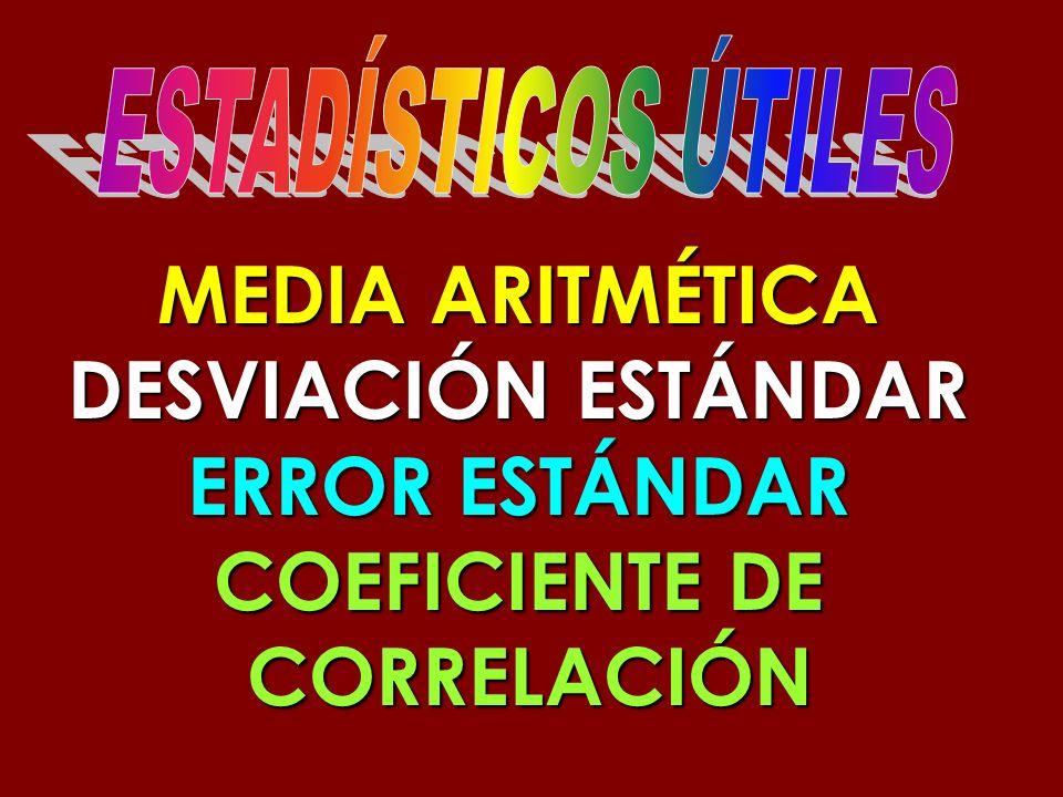 MEDIA ARITMÉTICA DESVIACIÓN ESTÁNDAR ERROR ESTÁNDAR COEFICIENTE DE CORRELACIÓN CORRELACIÓN