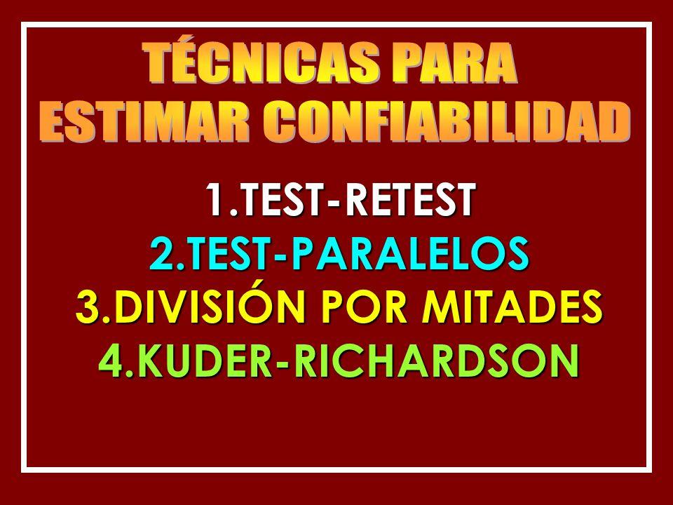 1.TEST-RETEST 2.TEST-PARALELOS 3.DIVISIÓN POR MITADES 4.KUDER-RICHARDSON