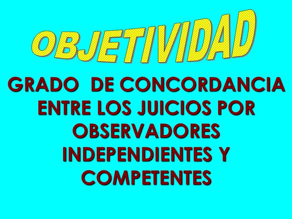 GRADO DE CONCORDANCIA ENTRE LOS JUICIOS POR OBSERVADORES INDEPENDIENTES Y COMPETENTES