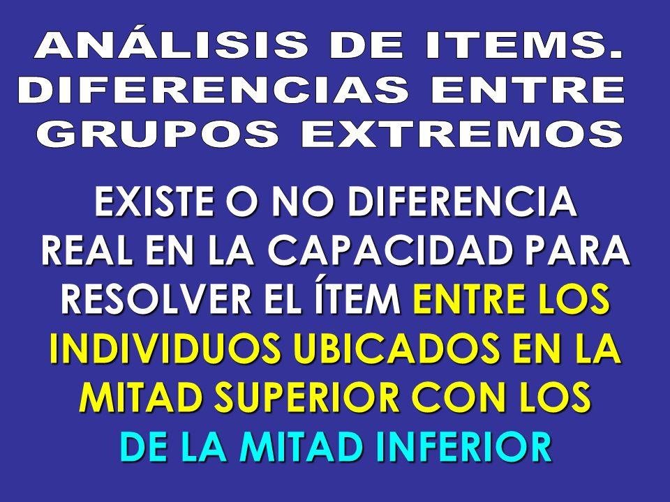 EXISTE O NO DIFERENCIA REAL EN LA CAPACIDAD PARA RESOLVER EL ÍTEM ENTRE LOS INDIVIDUOS UBICADOS EN LA MITAD SUPERIOR CON LOS DE LA MITAD INFERIOR