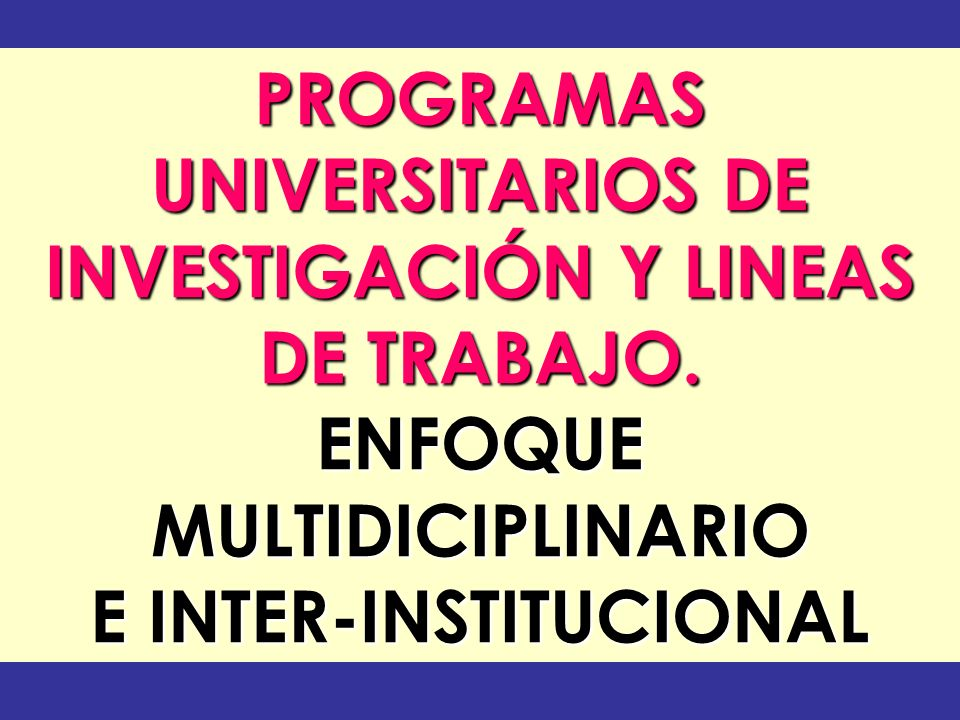 PROGRAMAS UNIVERSITARIOS DE INVESTIGACIÓN Y LINEAS DE TRABAJO. ENFOQUEMULTIDICIPLINARIO E INTER-INSTITUCIONAL