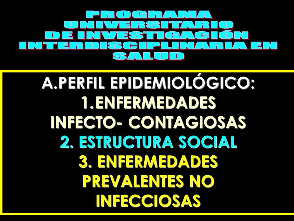 A.PERFIL EPIDEMIOLÓGICO: 1.ENFERMEDADES INFECTO- CONTAGIOSAS 2. ESTRUCTURA SOCIAL 3. ENFERMEDADES PREVALENTES NO INFECCIOSAS