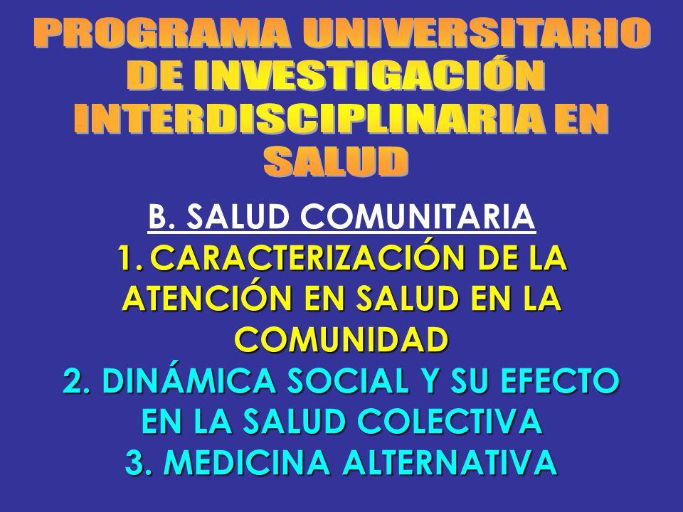 B. SALUD COMUNITARIA 1.CARACTERIZACIÓN DE LA ATENCIÓN EN SALUD EN LA COMUNIDAD 2. DINÁMICA SOCIAL Y SU EFECTO EN LA SALUD COLECTIVA 3. MEDICINA ALTERN