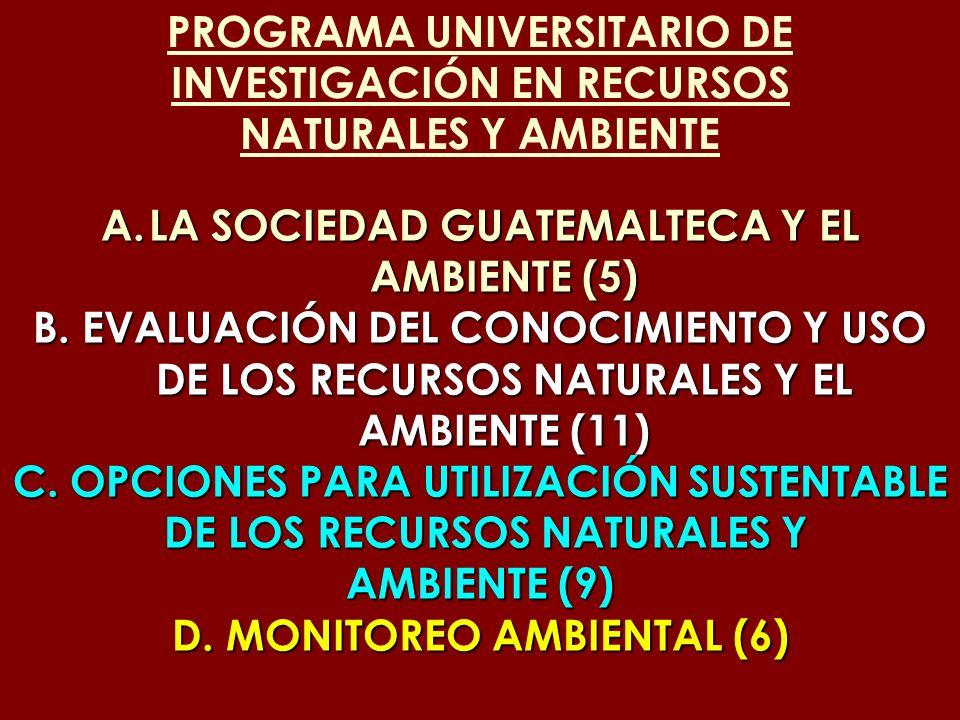 PROGRAMA UNIVERSITARIO DE INVESTIGACIÓN EN RECURSOS NATURALES Y AMBIENTE A.LA SOCIEDAD GUATEMALTECA Y EL AMBIENTE (5) B. EVALUACIÓN DEL CONOCIMIENTO Y