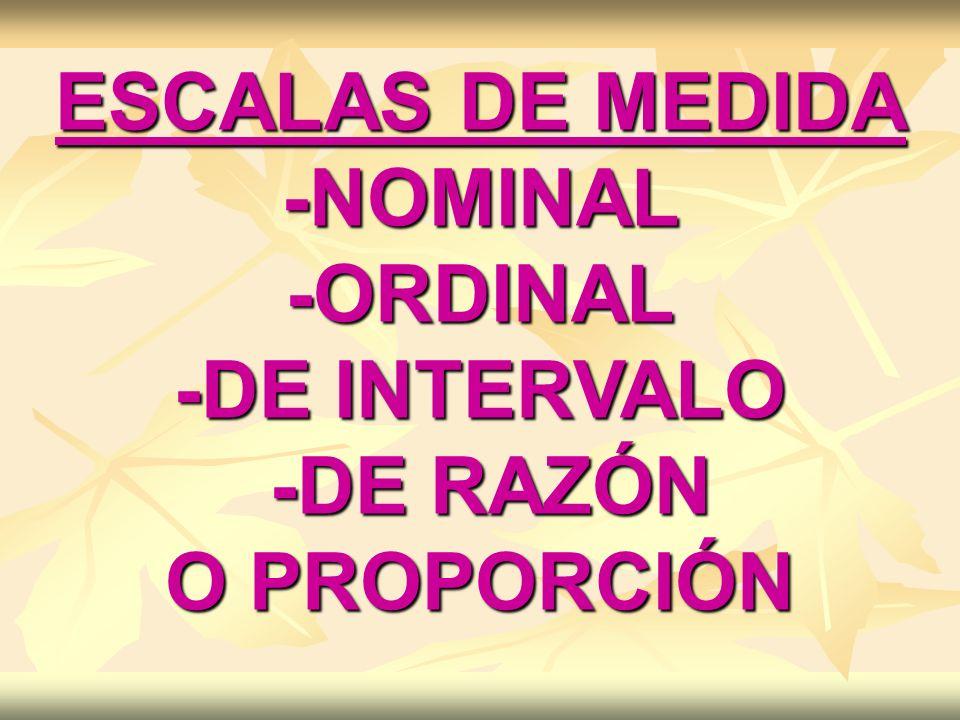 ESCALAS DE MEDIDA -NOMINAL-ORDINAL -DE INTERVALO -DE RAZÓN -DE RAZÓN O PROPORCIÓN