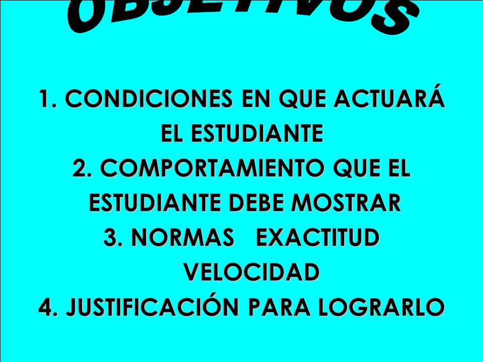1. CONDICIONES EN QUE ACTUARÁ EL ESTUDIANTE 2. COMPORTAMIENTO QUE EL ESTUDIANTE DEBE MOSTRAR ESTUDIANTE DEBE MOSTRAR 3. NORMAS EXACTITUD VELOCIDAD VEL