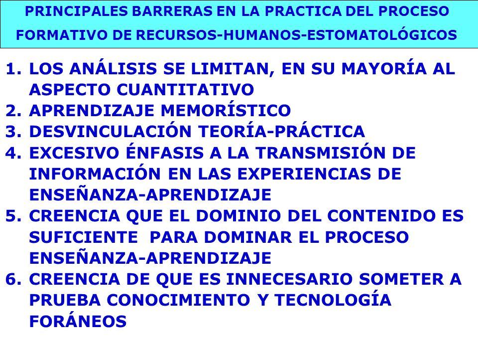 PRINCIPALES BARRERAS EN LA PRACTICA DEL PROCESO FORMATIVO DE RECURSOS-HUMANOS-ESTOMATOLÓGICOS 1.LOS ANÁLISIS SE LIMITAN, EN SU MAYORÍA AL ASPECTO CUAN
