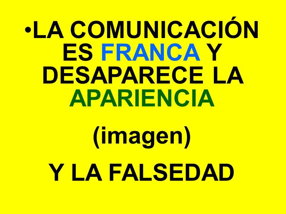 LA COMUNICACIÓN ES FRANCA Y DESAPARECE LA APARIENCIA (imagen) Y LA FALSEDAD