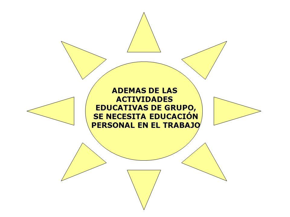 ADEMAS DE LAS ACTIVIDADES EDUCATIVAS DE GRUPO, SE NECESITA EDUCACIÓN PERSONAL EN EL TRABAJO