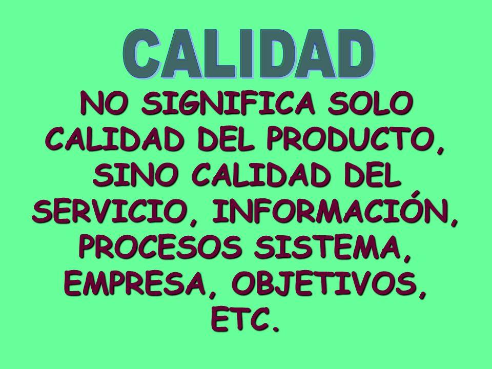 NO SIGNIFICA SOLO CALIDAD DEL PRODUCTO, SINO CALIDAD DEL SERVICIO, INFORMACIÓN, PROCESOS SISTEMA, EMPRESA, OBJETIVOS, ETC.