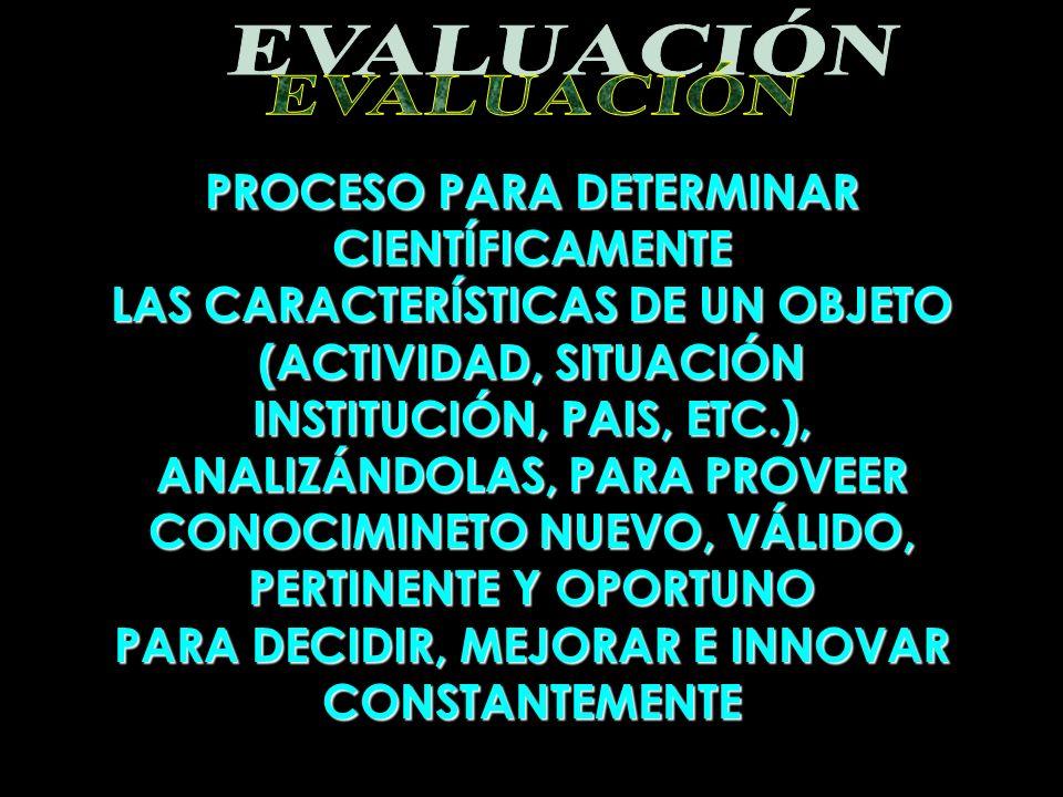 PROCESO PARA DETERMINAR CIENTÍFICAMENTE LAS CARACTERÍSTICAS DE UN OBJETO (ACTIVIDAD, SITUACIÓN INSTITUCIÓN, PAIS, ETC.), ANALIZÁNDOLAS, PARA PROVEER C