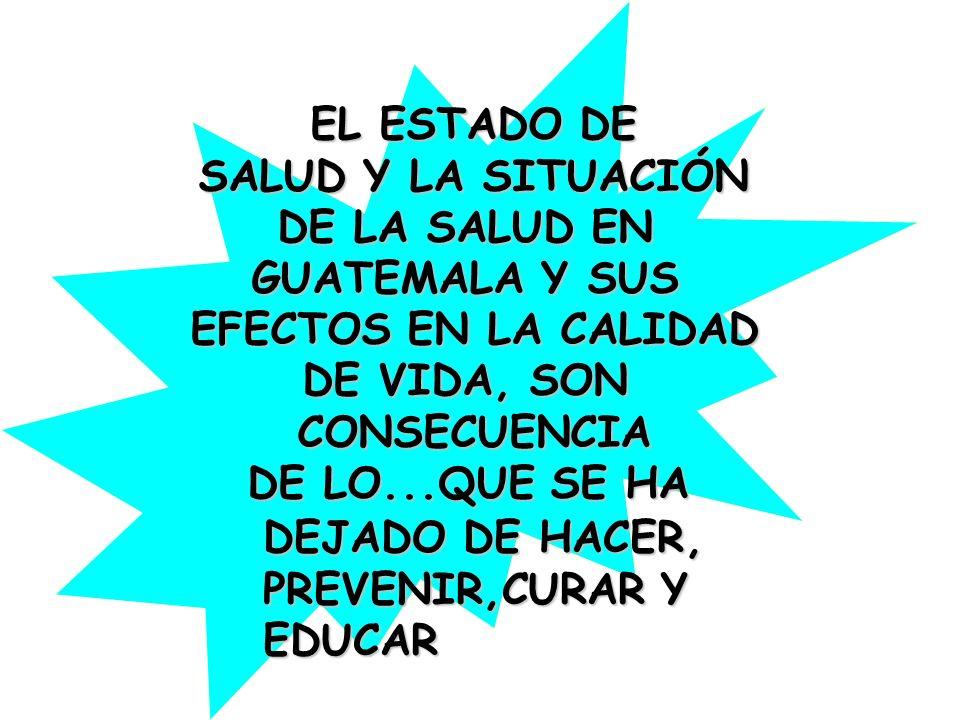 EL ESTADO DE SALUD Y LA SITUACIÓN DE LA SALUD EN GUATEMALA Y SUS EFECTOS EN LA CALIDAD DE VIDA, SON CONSECUENCIA DE LO...QUE SE HA DEJADO DE HACER, PR
