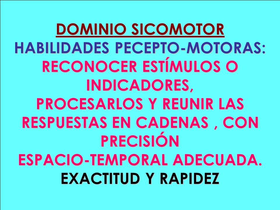 DOMINIO SICOMOTOR HABILIDADES PECEPTO-MOTORAS: RECONOCER ESTÍMULOS O INDICADORES, PROCESARLOS Y REUNIR LAS RESPUESTAS EN CADENAS, CON PRECISIÓN ESPACI