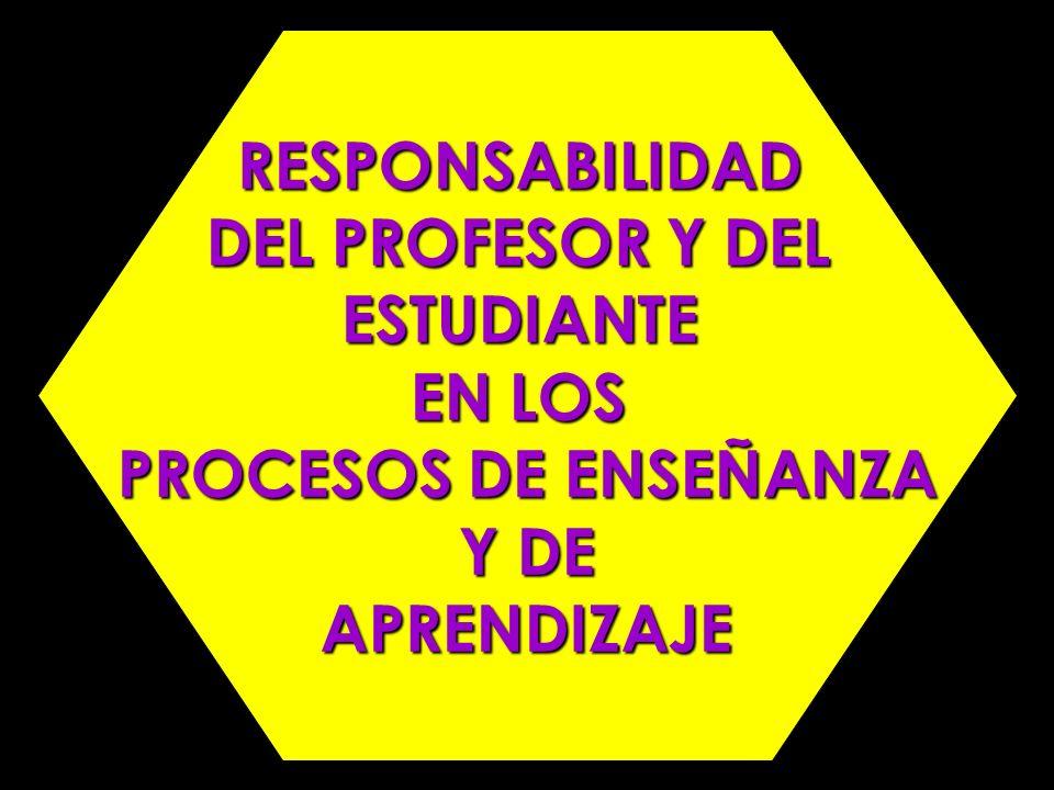 RESPONSABILIDAD DEL PROFESOR Y DEL ESTUDIANTE EN LOS PROCESOS DE ENSEÑANZA Y DE Y DEAPRENDIZAJE