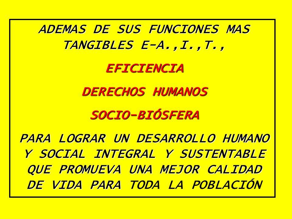 ADEMAS DE SUS FUNCIONES MAS TANGIBLES E-A.,I.,T., EFICIENCIA DERECHOS HUMANOS SOCIO-BIÓSFERA PARA LOGRAR UN DESARROLLO HUMANO Y SOCIAL INTEGRAL Y SUST