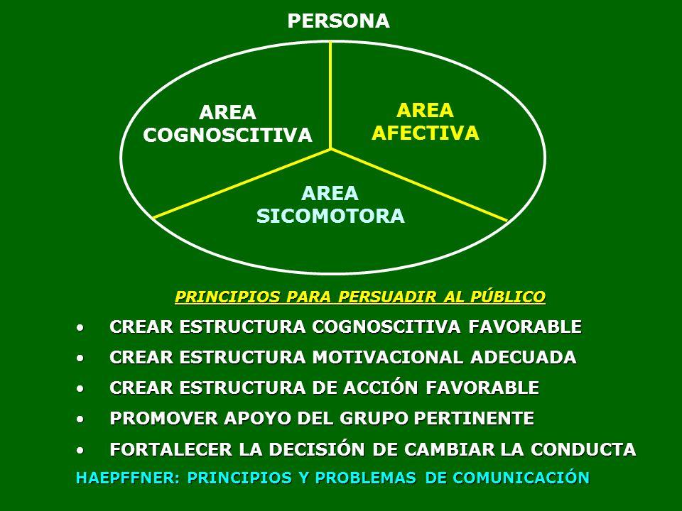 AREA COGNOSCITIVA AREA AFECTIVA AREA SICOMOTORA PRINCIPIOS PARA PERSUADIR AL PÚBLICO CREAR ESTRUCTURA COGNOSCITIVA FAVORABLECREAR ESTRUCTURA COGNOSCIT