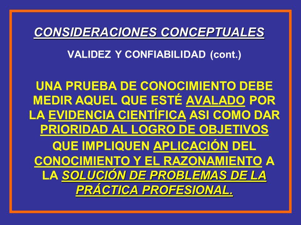CONSIDERACIONES CONCEPTUALES VALIDEZ Y CONFIABILIDAD (cont.) SOLUCIÓN DE PROBLEMAS DE LA PRÁCTICA PROFESIONAL. UNA PRUEBA DE CONOCIMIENTO DEBE MEDIR A