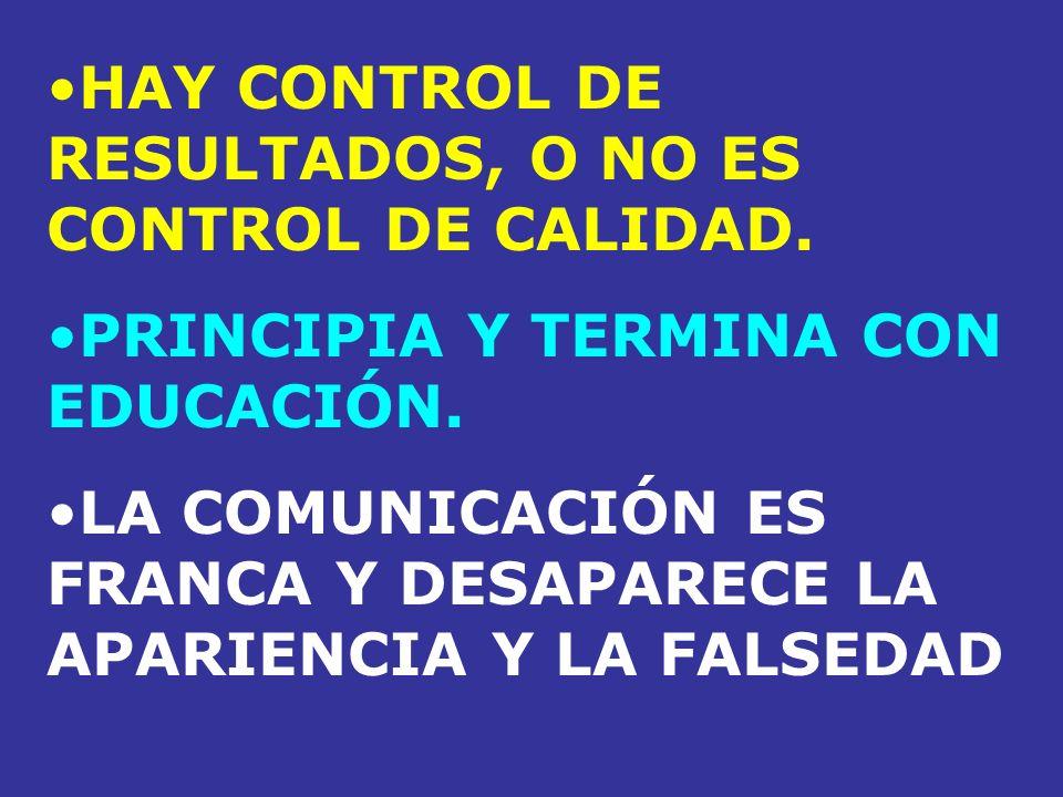 HAY CONTROL DE RESULTADOS, O NO ES CONTROL DE CALIDAD. PRINCIPIA Y TERMINA CON EDUCACIÓN. LA COMUNICACIÓN ES FRANCA Y DESAPARECE LA APARIENCIA Y LA FA