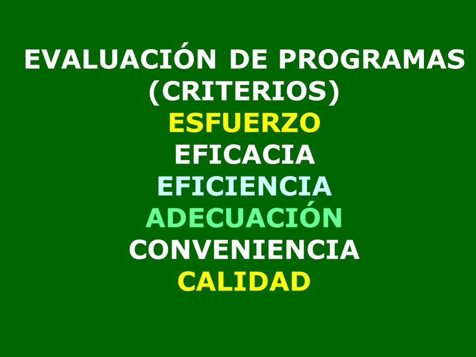 EVALUACIÓN DE PROGRAMAS (CRITERIOS) ESFUERZO EFICACIA EFICIENCIA ADECUACIÓN CONVENIENCIA CALIDAD