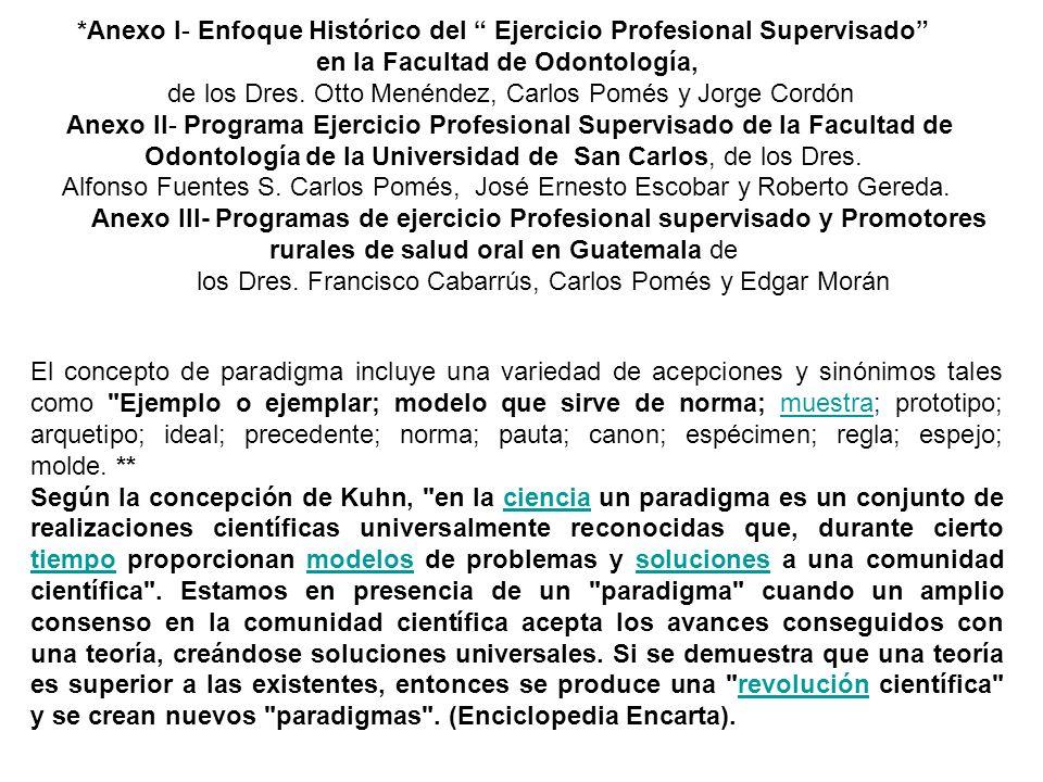 *Anexo I- Enfoque Histórico del Ejercicio Profesional Supervisado en la Facultad de Odontología, de los Dres. Otto Menéndez, Carlos Pomés y Jorge Cord