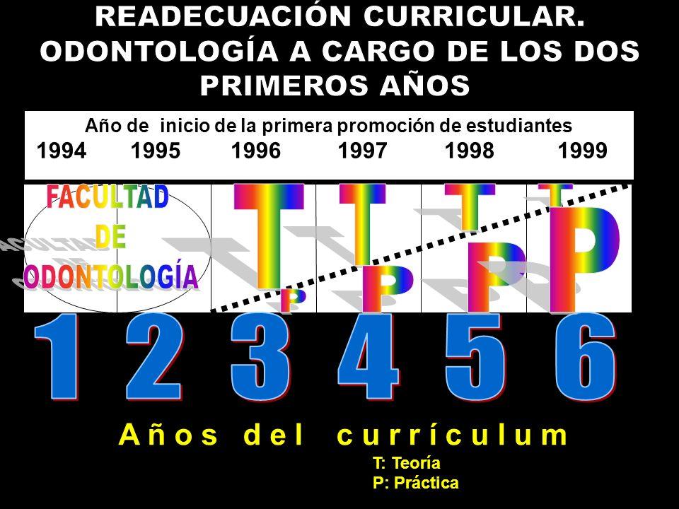 Año de inicio de la primera promoción de estudiantes 1994 1995 1996 1997 1998 1999 A ñ o s d e l c u r r í c u l u m T: Teoría P: Práctica