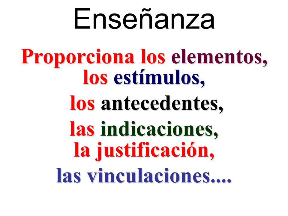 Enseñanza Proporciona los elementos, los estímulos, los antecedentes, los antecedentes, las indicaciones, la justificación, las vinculaciones....