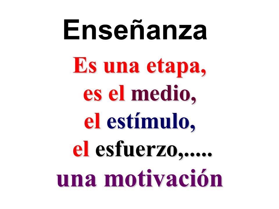 Enseñanza Es una etapa, es el medio, el estímulo, el esfuerzo,..... el esfuerzo,..... una motivación