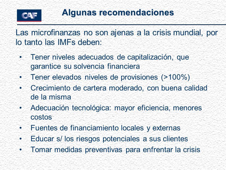 Tener niveles adecuados de capitalización, que garantice su solvencia financiera Tener elevados niveles de provisiones (>100%) Crecimiento de cartera