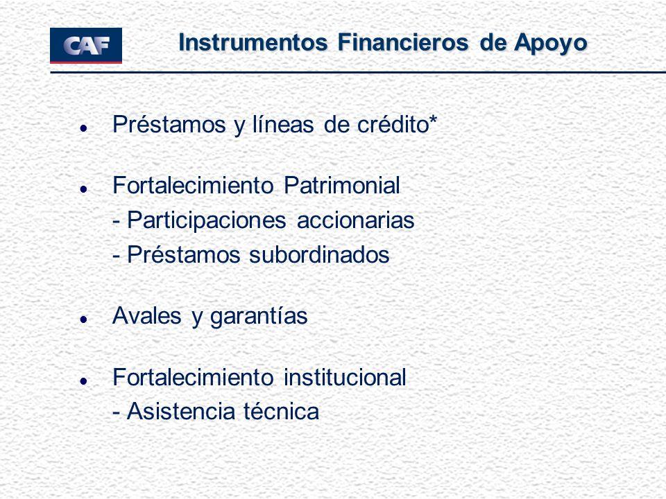 l Préstamos y líneas de crédito* l Fortalecimiento Patrimonial - Participaciones accionarias - Préstamos subordinados l Avales y garantías l Fortaleci