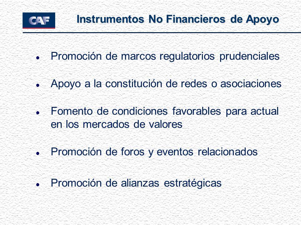 l Promoción de marcos regulatorios prudenciales l Apoyo a la constitución de redes o asociaciones l Fomento de condiciones favorables para actual en l
