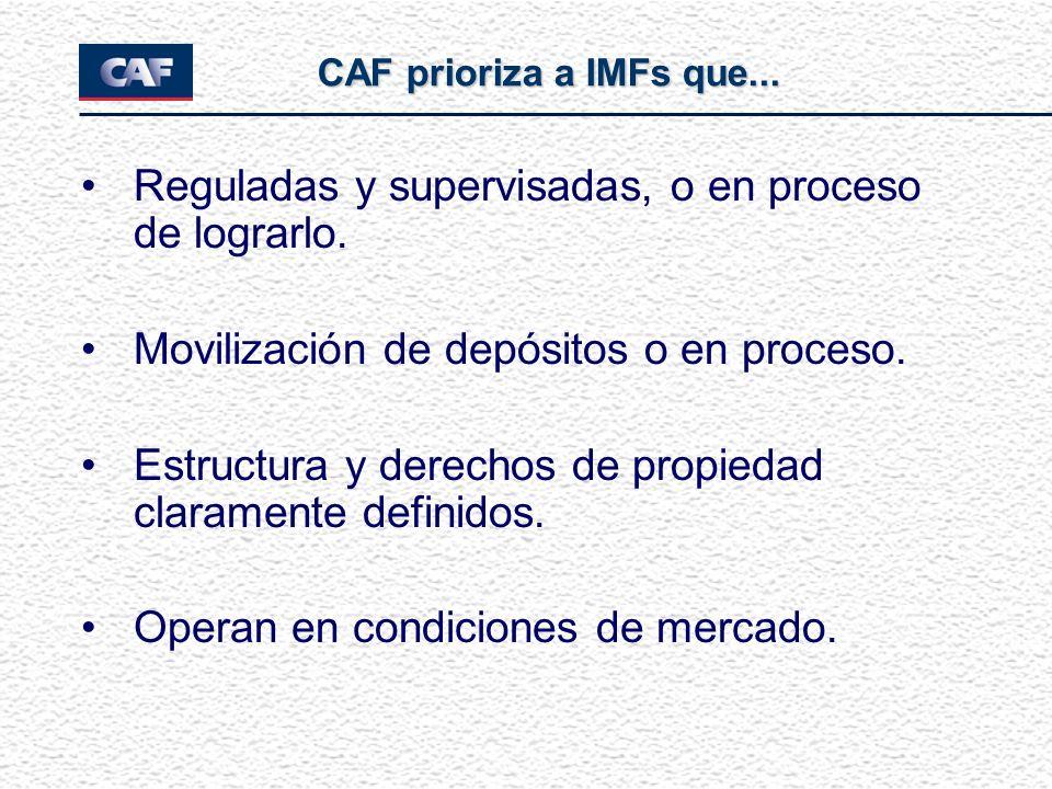 Reguladas y supervisadas, o en proceso de lograrlo. Movilización de depósitos o en proceso. Estructura y derechos de propiedad claramente definidos. O