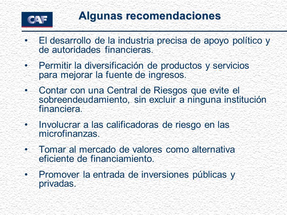 El desarrollo de la industria precisa de apoyo político y de autoridades financieras. Permitir la diversificación de productos y servicios para mejora