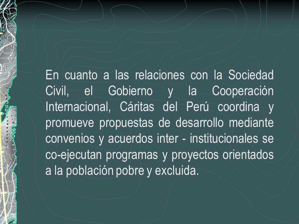 NUESTRA PRESENCIA COMO RED SOCIAL Cáritas del Perú como ONG de la Iglesia Católica asume las labores de coordinación, representación y servicio de los