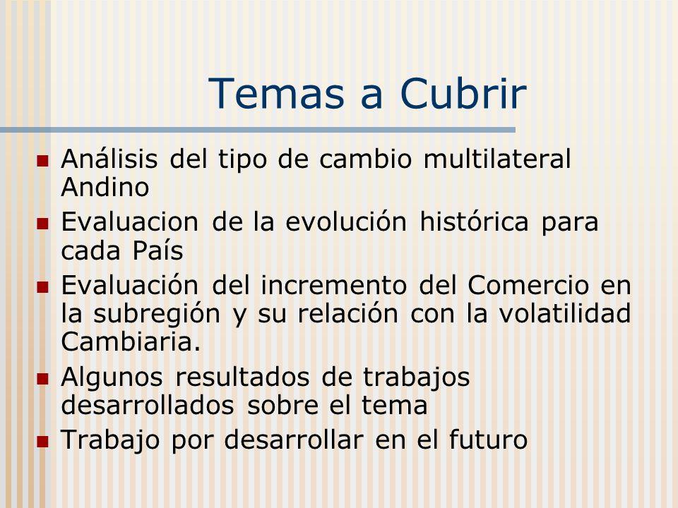 Temas a Cubrir Análisis del tipo de cambio multilateral Andino Evaluacion de la evolución histórica para cada País Evaluación del incremento del Comercio en la subregión y su relación con la volatilidad Cambiaria.