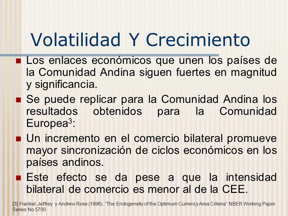 Volatilidad Y Crecimiento Los enlaces económicos que unen los países de la Comunidad Andina siguen fuertes en magnitud y significancia. Se puede repli