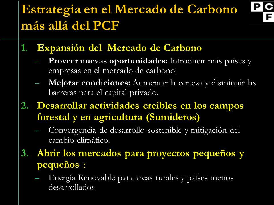 Estrategia en el Mercado de Carbono más allá del PCF 1.Expansión del Mercado de Carbono –Proveer nuevas oportunidades: Introducir más países y empresas en el mercado de carbono.