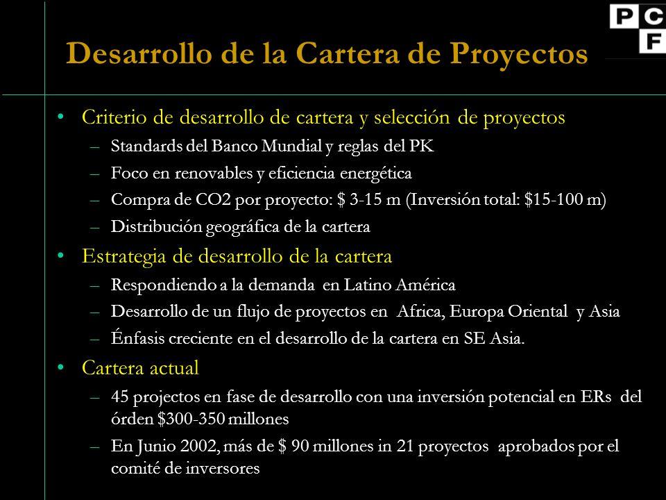 Compras de ERs acordadas Objetivo para el 2002: 11 proyectos (excluyendo Latvia) con acuerdos de compra (ERPAs) negociados.