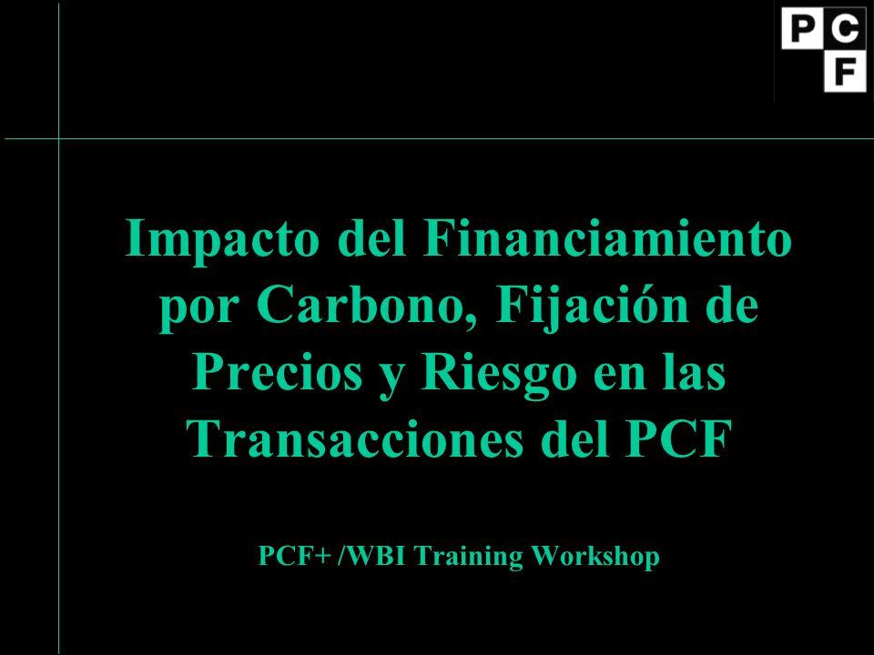 Impacto del Financiamiento por Carbono, Fijación de Precios y Riesgo en las Transacciones del PCF PCF+ /WBI Training Workshop
