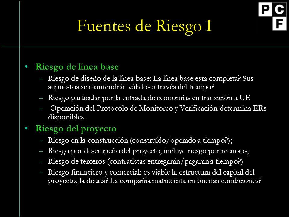 Fuentes de Riesgo I Riesgo de línea base –Riesgo de diseño de la línea base: La línea base esta completa.