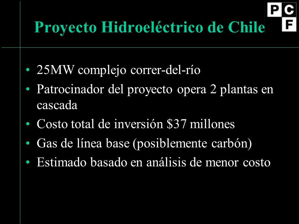25MW complejo correr-del-río Patrocinador del proyecto opera 2 plantas en cascada Costo total de inversión $37 millones Gas de línea base (posiblemente carbón) Estimado basado en análisis de menor costo Proyecto Hidroeléctrico de Chile