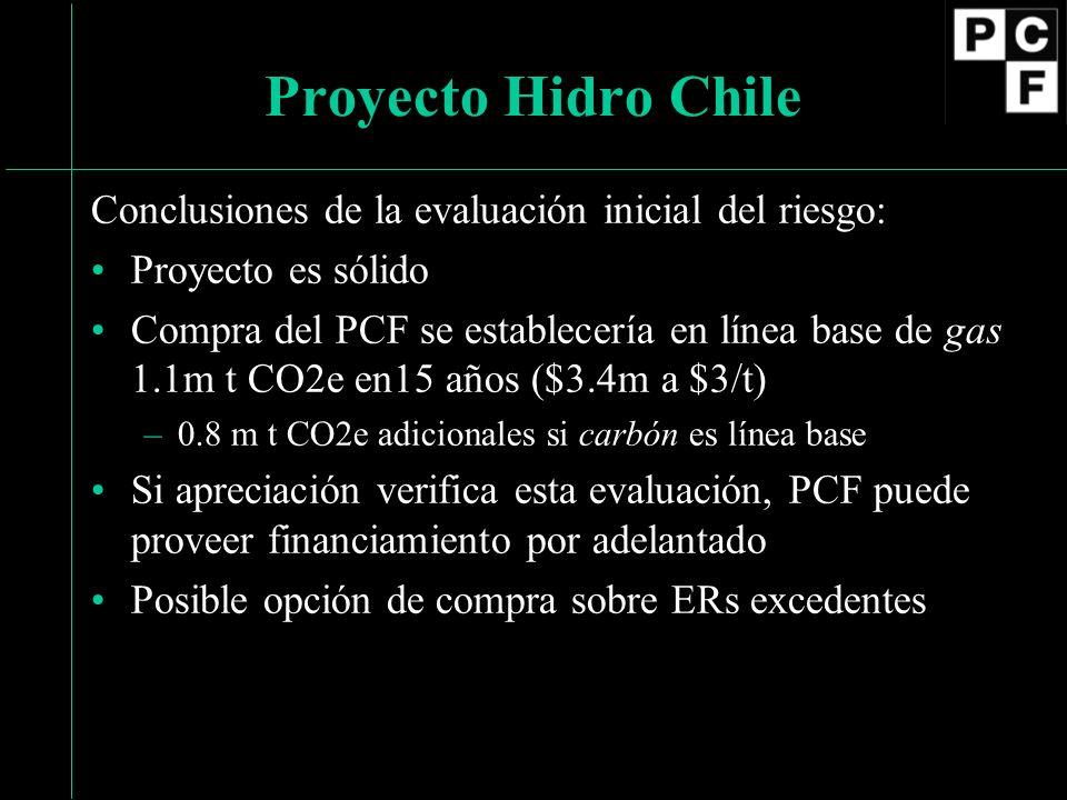 Conclusiones de la evaluación inicial del riesgo: Proyecto es sólido Compra del PCF se establecería en línea base de gas 1.1m t CO2e en15 años ($3.4m a $3/t) –0.8 m t CO2e adicionales si carbón es línea base Si apreciación verifica esta evaluación, PCF puede proveer financiamiento por adelantado Posible opción de compra sobre ERs excedentes Proyecto Hidro Chile
