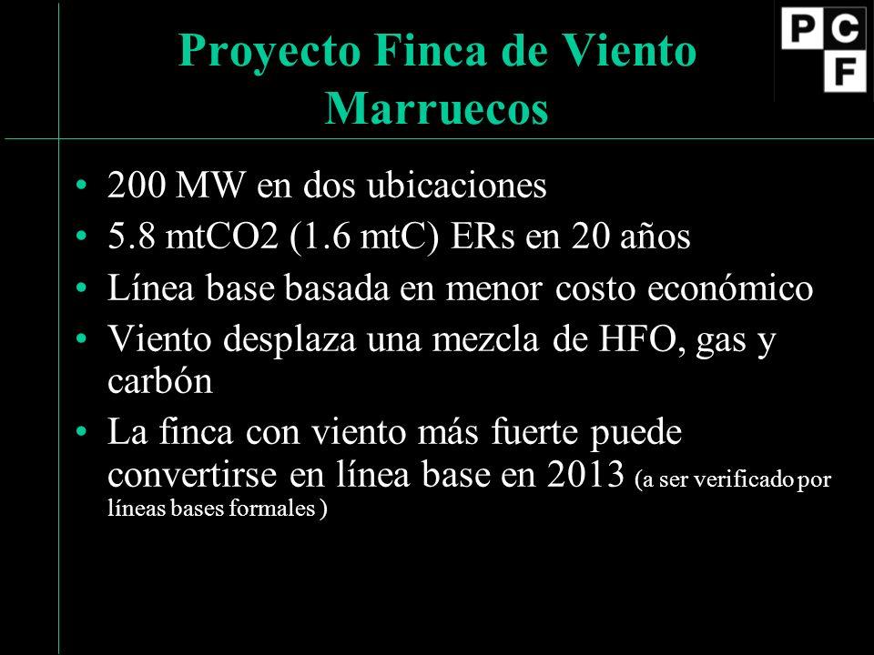 200 MW en dos ubicaciones 5.8 mtCO2 (1.6 mtC) ERs en 20 años Línea base basada en menor costo económico Viento desplaza una mezcla de HFO, gas y carbón La finca con viento más fuerte puede convertirse en línea base en 2013 (a ser verificado por líneas bases formales ) Proyecto Finca de Viento Marruecos