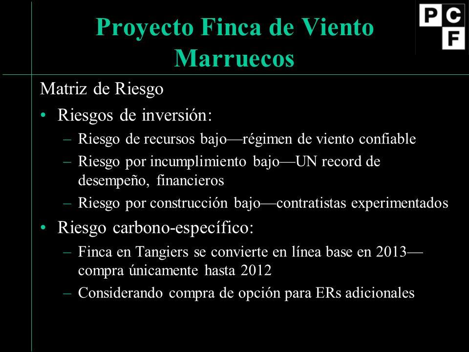Matriz de Riesgo Riesgos de inversión: –Riesgo de recursos bajorégimen de viento confiable –Riesgo por incumplimiento bajoUN record de desempeño, financieros –Riesgo por construcción bajocontratistas experimentados Riesgo carbono-específico: –Finca en Tangiers se convierte en línea base en 2013 compra únicamente hasta 2012 –Considerando compra de opción para ERs adicionales Proyecto Finca de Viento Marruecos