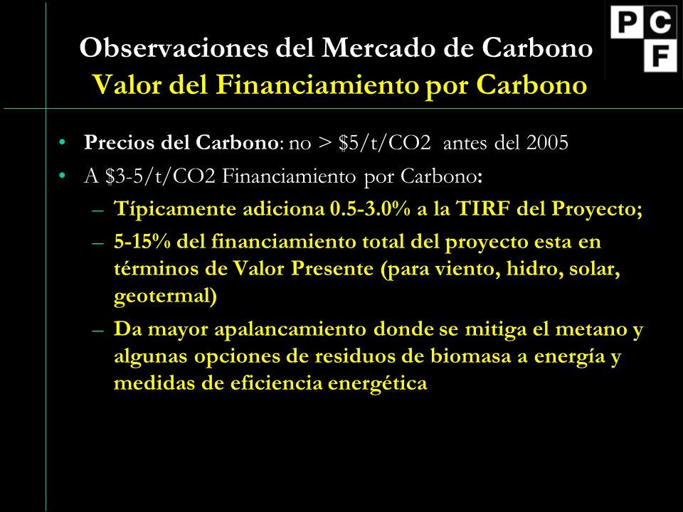 Observaciones del Mercado de Carbono Valor del Financiamiento por Carbono Precios del Carbono: no > $5/t/CO2 antes del 2005 A $3-5/t/CO2 Financiamiento por Carbono: –Típicamente adiciona 0.5-3.0% a la TIRF del Proyecto; –5-15% del financiamiento total del proyecto esta en términos de Valor Presente (para viento, hidro, solar, geotermal) –Da mayor apalancamiento donde se mitiga el metano y algunas opciones de residuos de biomasa a energía y medidas de eficiencia energética