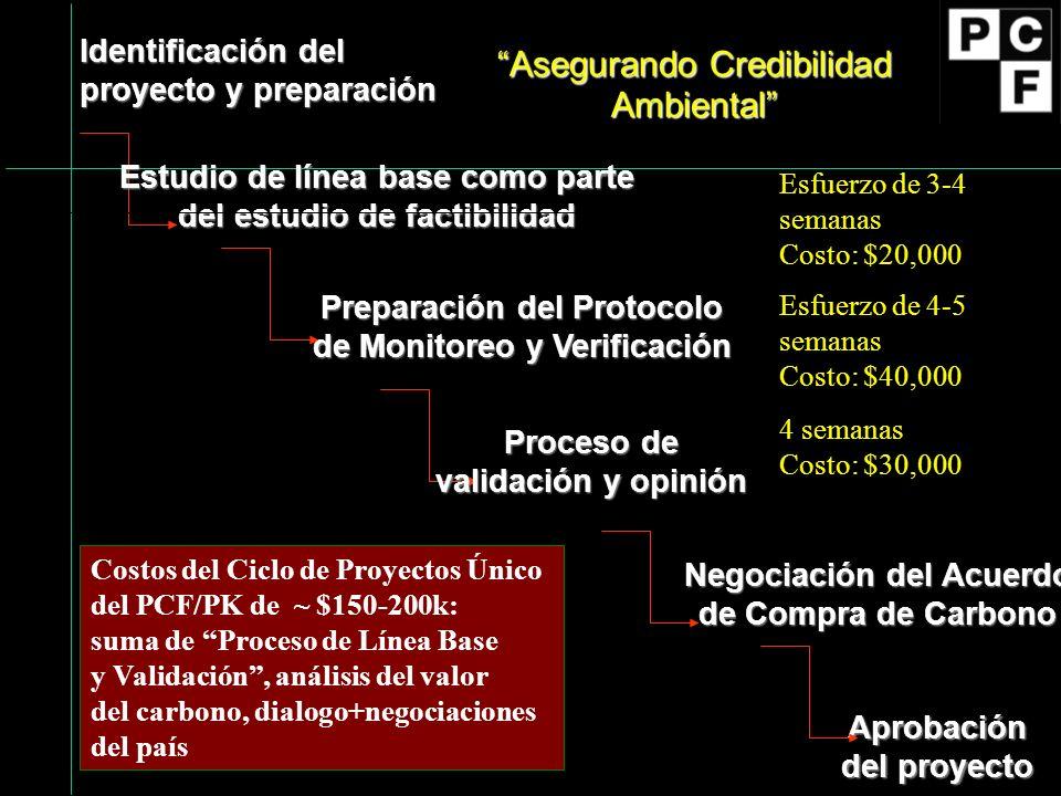 Identificación del proyecto y preparación Preparación del Protocolo de Monitoreo y Verificación Negociación del Acuerdo de Compra de Carbono Aprobación del proyecto Proceso de validación y opinión Estudio de línea base como parte del estudio de factibilidad Asegurando Credibilidad Ambiental Esfuerzo de 3-4 semanas Costo: $20,000 Esfuerzo de 4-5 semanas Costo: $40,000 4 semanas Costo: $30,000 Costos del Ciclo de Proyectos Único del PCF/PK de ~ $150-200k: suma de Proceso de Línea Base y Validación, análisis del valor del carbono, dialogo+negociaciones del país