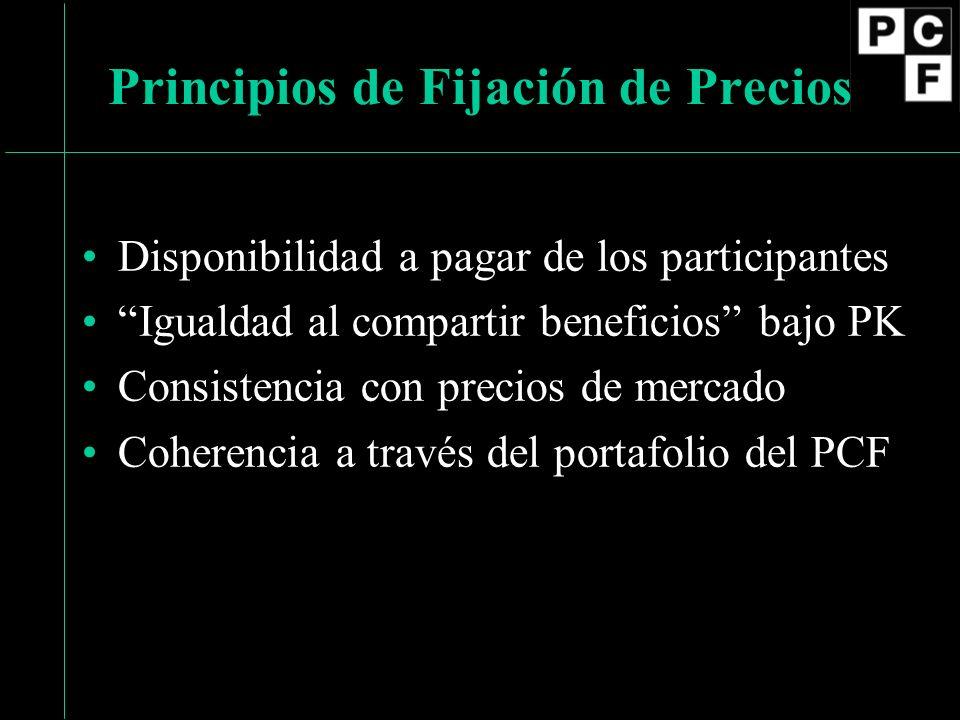 Disponibilidad a pagar de los participantes Igualdad al compartir beneficios bajo PK Consistencia con precios de mercado Coherencia a través del portafolio del PCF Principios de Fijación de Precios